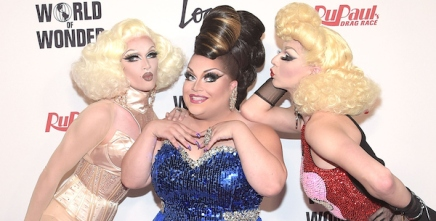 LOS ANGELES, CA - MAY 19:  Pearl, Ginger Minj and Violet Chachki attend RuPaul's Drag Race Season 7 Finale at the Orpheum Theatre on May 19, 2015 in Los Angeles, California.  (Photo by Jason Kempin/Getty Images  for Logo TV)